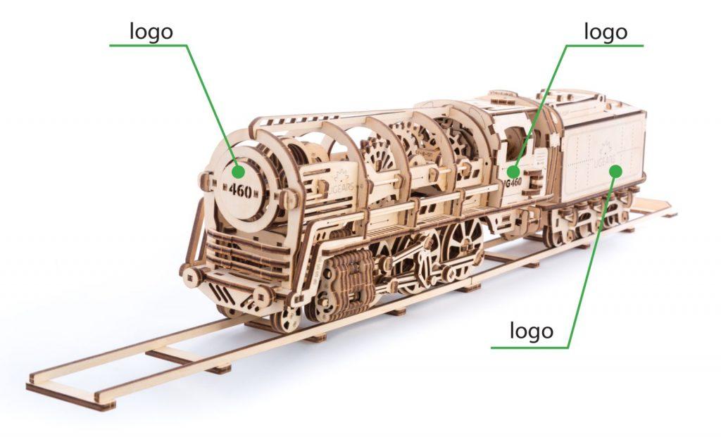 8 Ugears Steam Locomotive with Tender Branding Option