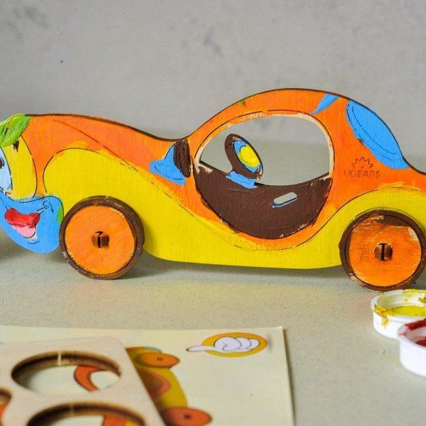 Automobile-–-Puzzle-3d-Mécanique-en-bois-à-peindre-–-Ugears-France-4