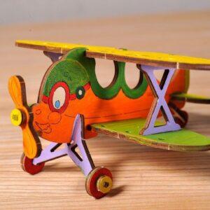 Biplan-–-Puzzle-3d-Mécanique-en-bois-à-peindre-–-Ugears-France-5