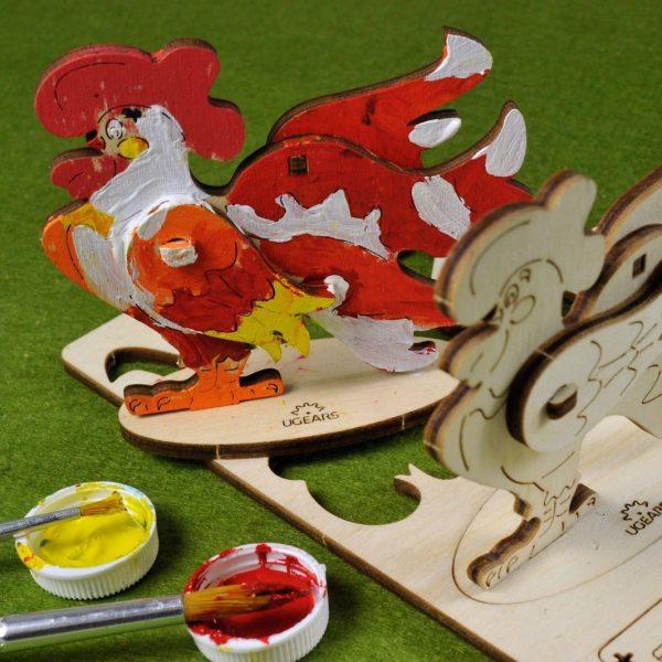 Coq-–-Puzzle-3d-Mécanique-en-bois-à-peindre-–-Ugears-France-Title-Photo-in-Catalogue