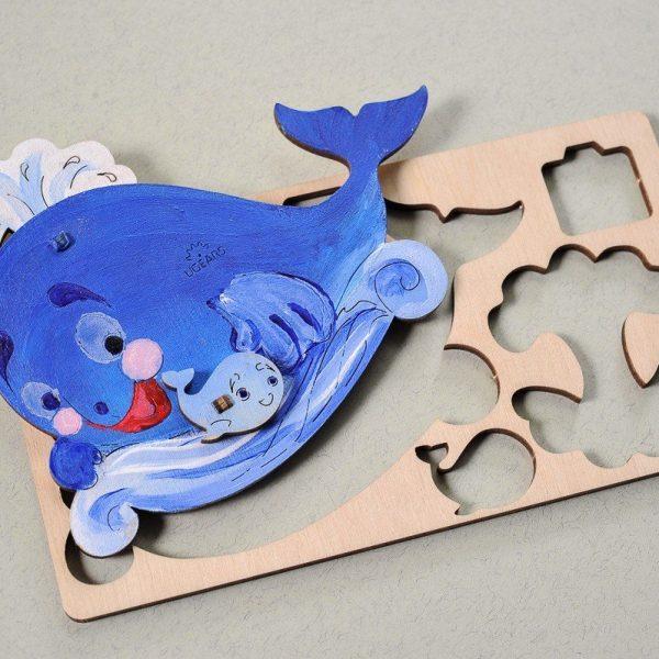 Famille-Baleine-–-Puzzle-3d-Mécanique-en-bois-à-peindre-–-Ugears-France-