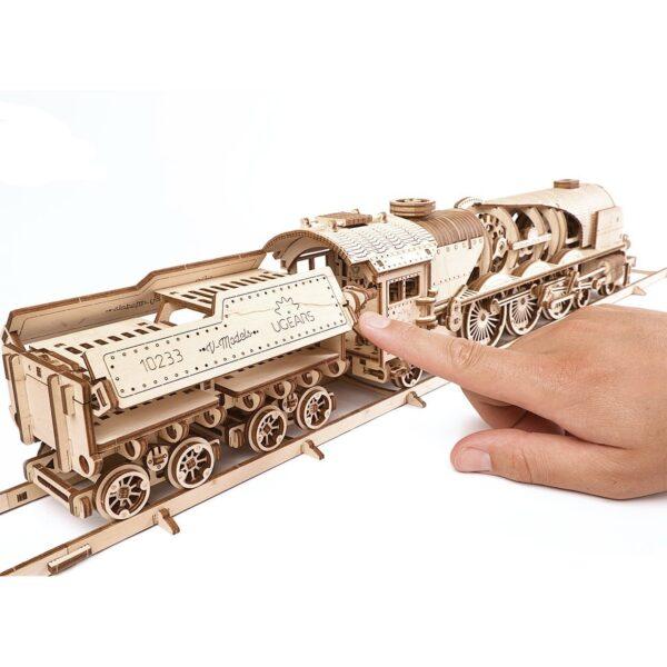 Locomotive V-Express Ugears – Puzzle 3d en bois + 1