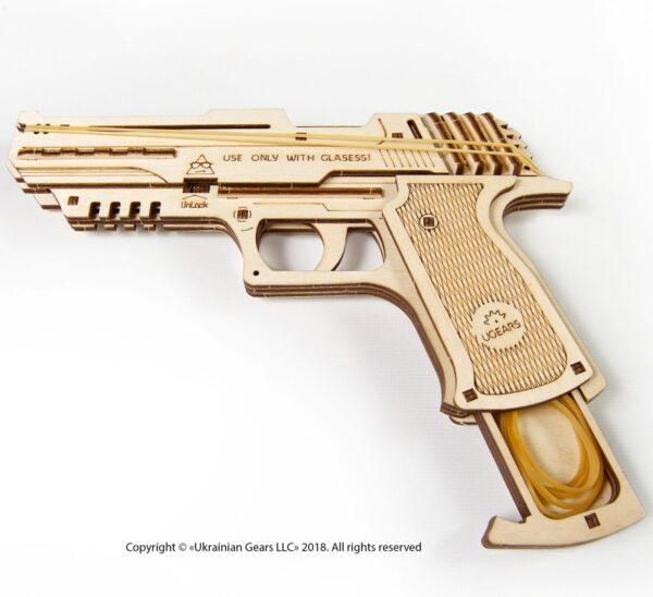 Pistolet Wolf-01-Ugears-puzzle 3d mécanique en bois