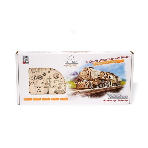Locomotive V-Express Ugears – Puzzle 3d en bois + 4
