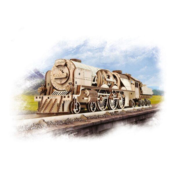Locomotive V-Express Ugears – Puzzle 3d en bois + 5