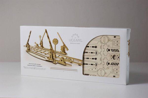 Rails + Passage à niveau – Puzzle 3d Mécanique en bois – Ugears France + 7