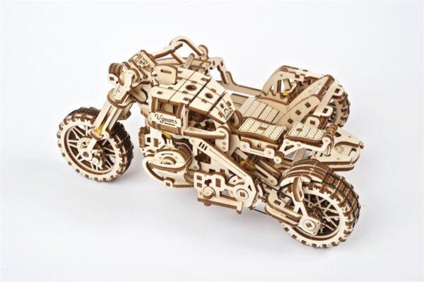 Moto Scrambler UGR-10 avec Side-Car Ugears – Puzzle 3d en bois + 2