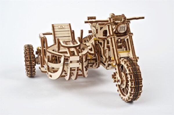 Moto Scrambler UGR-10 avec Side-Car Ugears – Puzzle 3d en bois + 6