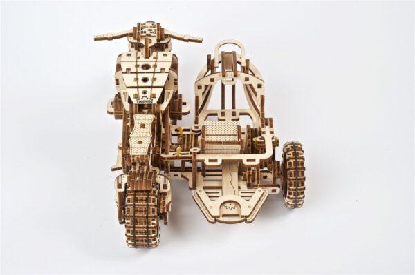 Moto Scrambler UGR-10 avec Side-Car Ugears – Puzzle 3d en bois + 7