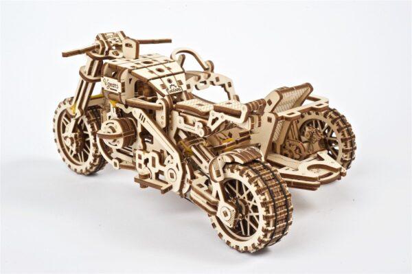 Moto Scrambler UGR-10 avec Side-Car Ugears – Puzzle 3d en bois + 12
