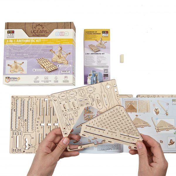 Kit Arithmétique STEM Ugears – Puzzle 3d en bois + 9