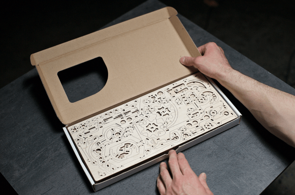 Parcours à Billes avec Élévateur Ugears – Puzzle 3d en bois + 4